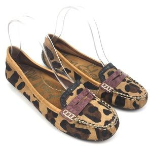 Sam Edelman leopard print loafer calf hair leather